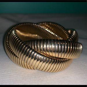 Vintage 80's Goldtone Metal Stretch Bracelet